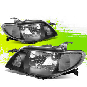 Driver passenger Black Clear Driving Headlight lamps For 01 03 Mazda Protege