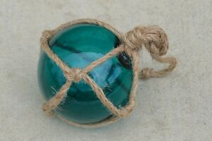 Reproduction Turquoise Glass Float Ball With Fishing Net 5 F 877