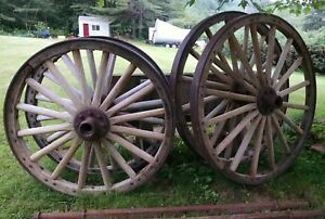 Pair Of Large 55 Pair Of Large 44 5 Antique Wagon Wheels With Axle
