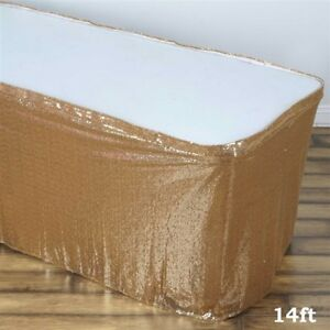 14 Ft Gold Sequin Table Skirt Wedding Party Catering Trade Show Banquet