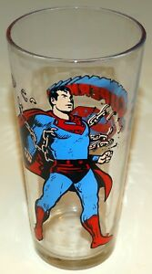 Superman Glass Pepsi Collector Series 1975 Vintage Bright Colors Clean Graphics