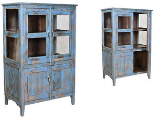 Antique Old Teak Hand Painted Blue Wood Cabinet 56 H