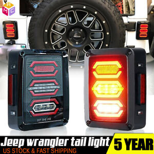 Jeep Wrangler Jk 07 16 Led Tail Lights Brake Reverse Turn Signal Rear Lamps Sae