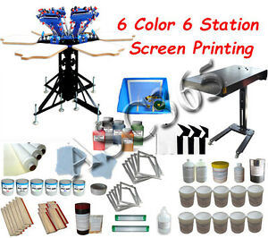 Starter Hobby Kit 6 Color Screen Printing Press Press Tools Kit Flash Dryer