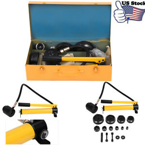 15 Ton 16 101mm Hydraulic Knockout Punch Kit Hand Pump 10 Dies Hydra Tool Kit