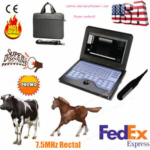 Veterinary Ultrasound Scanner Laptop Machine 7 5mhz Rectal bovine Equine hot