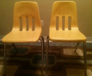 Vtg Pair 2 Virco Mid Century Yellow Plastic School Chair Chairs Bucket Sz Adult