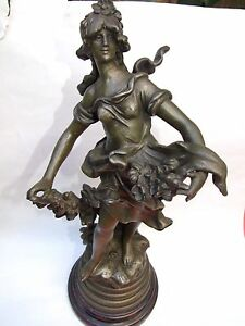 Antigue Auguste Moreau French Maiden Spelter Statue Signed Wood Base1890 S