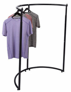 Half Round Clothing Rack Pipeline Clothes Black Garment Adjustable 52 72 H