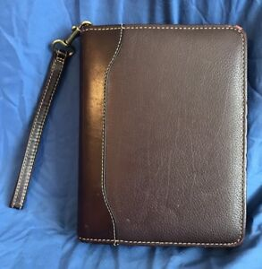 Compact 1 5 Brown burgundy Verona Leather Franklin Covey Quest Planner Binder
