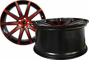 4 Gwg Wheels 22 Inch Staggered Red Mod Rims Fits Dodge Challenger Rt 2009 2018