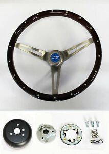 Chevelle Nova Camaro Impala Wood Steering Wheel Rivets High Gloss 15 Blue Cap