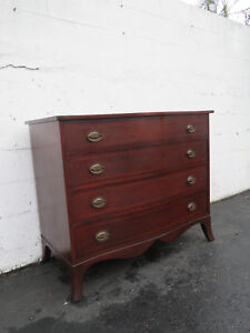 Solid Mahogany Bow Front Inlay Dresser By Statton Trutype 8622