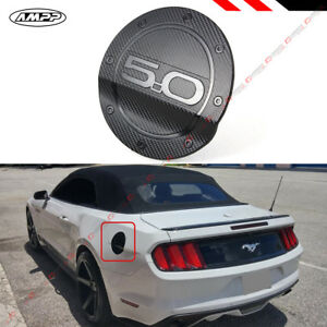 For 2015 18 Ford Mustang 5 0 Carbon Fiber Texture Add On Gas Fuel Door Cover Cap