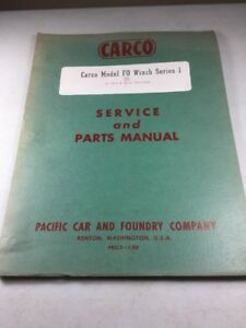 Carco Model Fo Series 1 For Allis Chalmers Hd9 Hd11 Service And Parts Manual