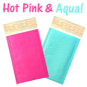 Aqua Hot Pink Kraft Bubble Mailers colored Padded Shipping Envelopes 4x8 6x9