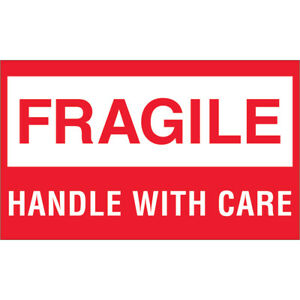 Tape Logic Labels fragile Handle With Care 3 X 5 Red white 500 roll Dl1070