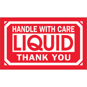 Tape Logic Labels handle With Care Liquid Thank You 3 X 5 Red white 500 r