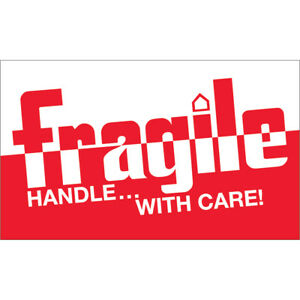 Tape Logic Labels fragile Handle With Care 3 X 5 Red white 500 roll Dl1160