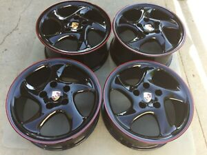 18 New Black Red Stripe Oem Factory Porsche Boxster Cayman Turbo Twist Wheels