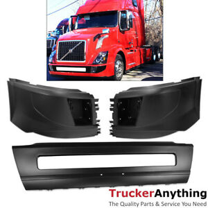 16 18 Volvo Vnl Truck Center Bumper With Left Right End Extensions Fog Lamp Hole