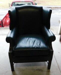 Leather Wingback Chair Chippendale Style
