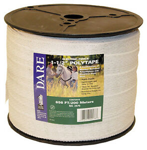 Electric Fence Tape White Poly 15 wire Stainless Steel 1 5 in X 656 ft