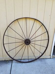 Antique Large Metal Wagon Farm Machine Cart Tractor Wheel 53 Inches Tall Barn