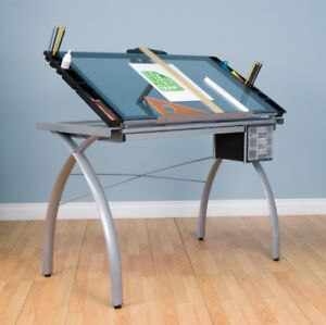 Futura Craft Station Silverblue Glass Drafting Drawing Table Durable Safety Art