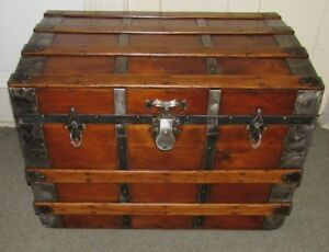 Antique Steamer Trunk Vintage Victorian Flat Top Rustic Wooden Chest Tray