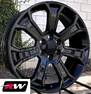 Chevy Tahoe Wheels 5665 Gloss Black 20 Inch 20x9 Rims 6x5 50 6x139 7 24
