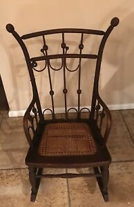 Antique Child Size Rocker Hand Beautifully Caned Seat Youth Rocking Chair
