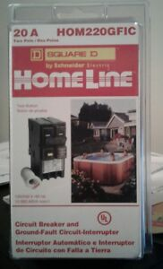 Square D Electric Hom220gfi Hom220gfic Homeline 20 Amp Two pole Gfci Circuit