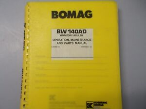 Bomag Bw 140ad Vibratory Roller Parts Maintenance Operation Manual