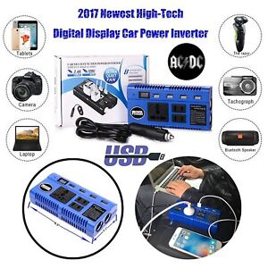 Car Power Inverter Converter 12v Dc Battery To 110v Ac 200w Socket Adapter 4 Usb