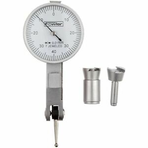 Fowler 52 563 677 Metric White Face Dial Test Indicator Satin Chrome Finish