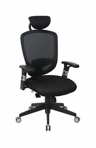 Viva Office High Back Mesh Executive Chair with Adjustable Armrests headrest