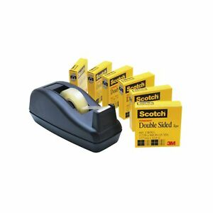 Scotch Double Sided Tape With Deluxe Desktop Tape Dispenser 1 2 X 900 Inches