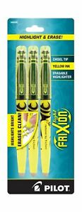 Pilot Frixion Light Erasable Highlighters Chisel Point Yellow Box Of Six 3
