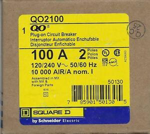 Square D Qo2100 100a 2 Pole 120 240v Circuit Breaker By Schneider New In Box