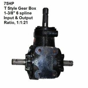 75hp Rotary Cutter Gear Box T Style 1 3 8 6 Sp Input Output Shafts 1 1 21