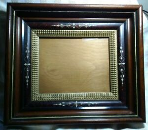 Antique 3 Part Etched With Unique Gold Inner Shadow Box Eastlake Picture Frame