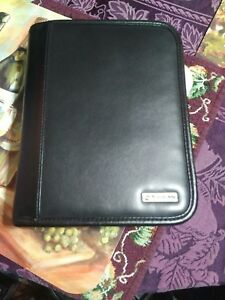 Compact 1 25 Rings Franklin Covey Black Leather Zipper Planner binder Euc