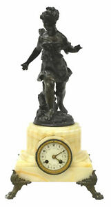 19th C Antique French Onyx Mantle Mantel Clock With Figural Female Statue