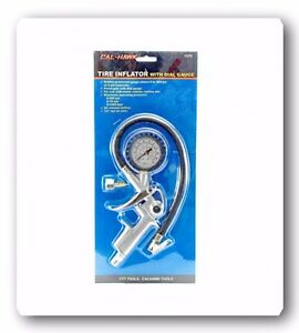 Tire Pistol Grip Inflator With Dual Gauge 0 To 220 Psi At 2 Psi Intervals