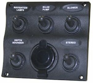 5001560 Seasense 5 Gang Toggle Switch Panel With 12v Outlet