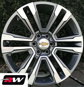 Chevy Silverado Oe Replica Wheels 2017 Denali 20x9 Inch Gunmetal Machined Rims
