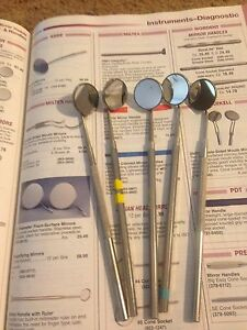 5 Miltex Dental Mirrors With Stainless Steel Handles Retail Heads 25 49 Each