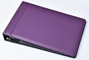 Real Leather 7 Ring Business Check Binder For 3 On A Page Checks purple