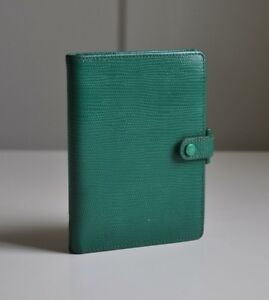 Vintage 4 Ring Filofax Organizer In Green Lizard Patterned Leather With Inserts
